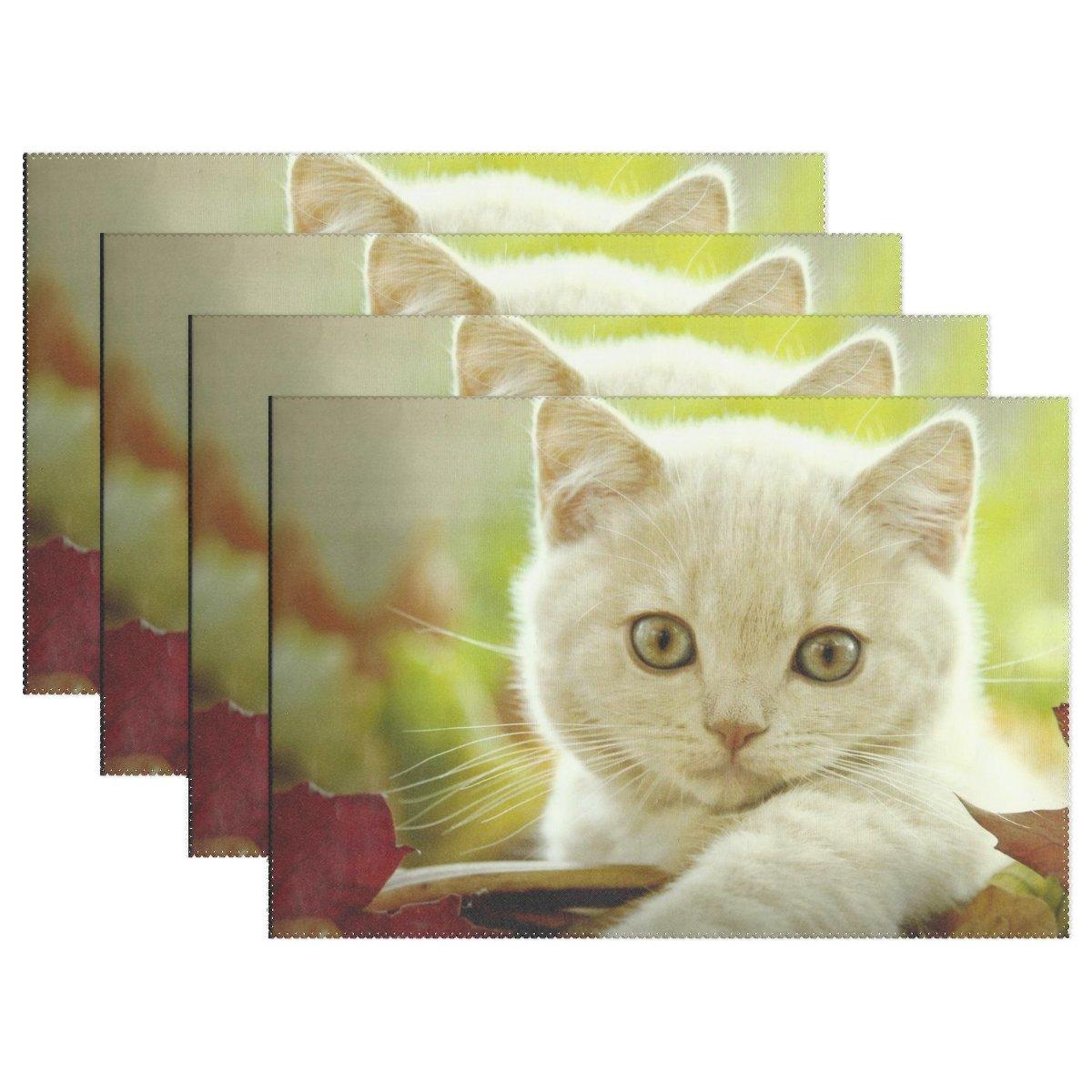 vnaskl動物猫Turkish Van Adorable Fluffy Smallペットキュートホワイト耐熱テーブルPlacemats Set of 4 Stain Resistantテーブルマット洗濯可能食べマットホームディナー装飾   B07D8MYQJW