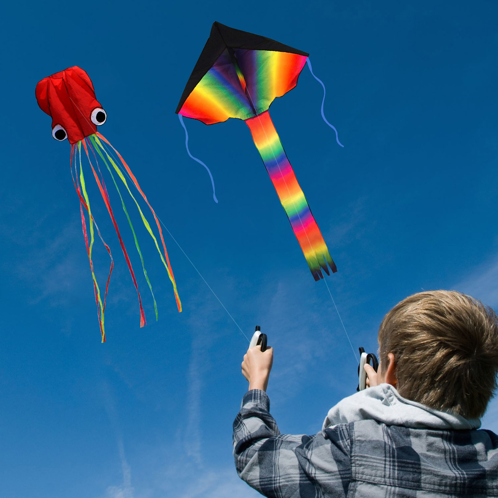 ZoomSky 2 Pack Kites - Large Rainbow Delta Kite and Red Mollusc Octopus with Long Colorful Tail for Children Outdoor Game,Activities,Beach Trip