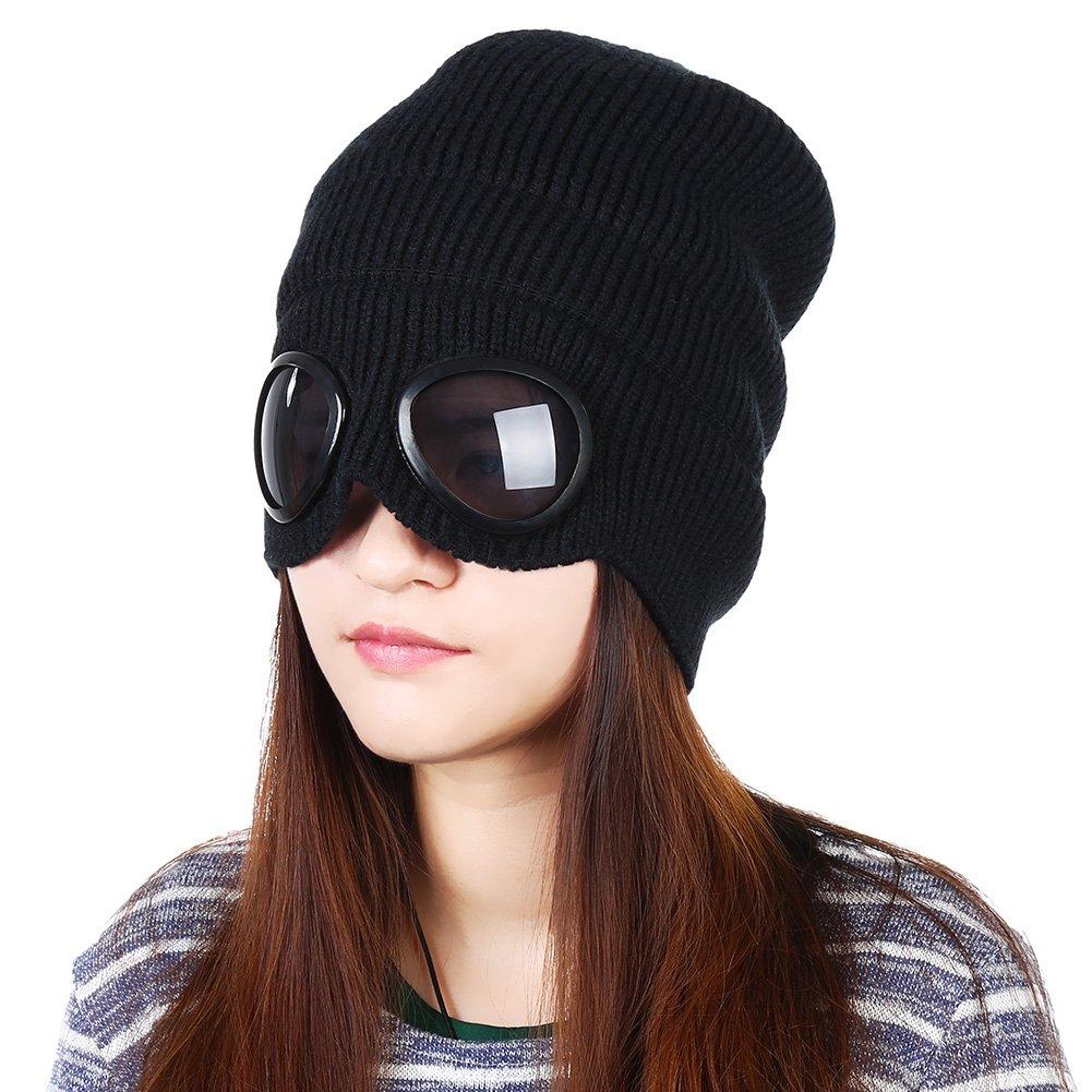 Vbiger Wintermütze Warm Beanie Cap Stretchy Strick Slouchy Beanie mit abnehmbaren Gläsern und Plüsch Futter, geeignet für Shopping Reisen und Outdoor Aktivitäten