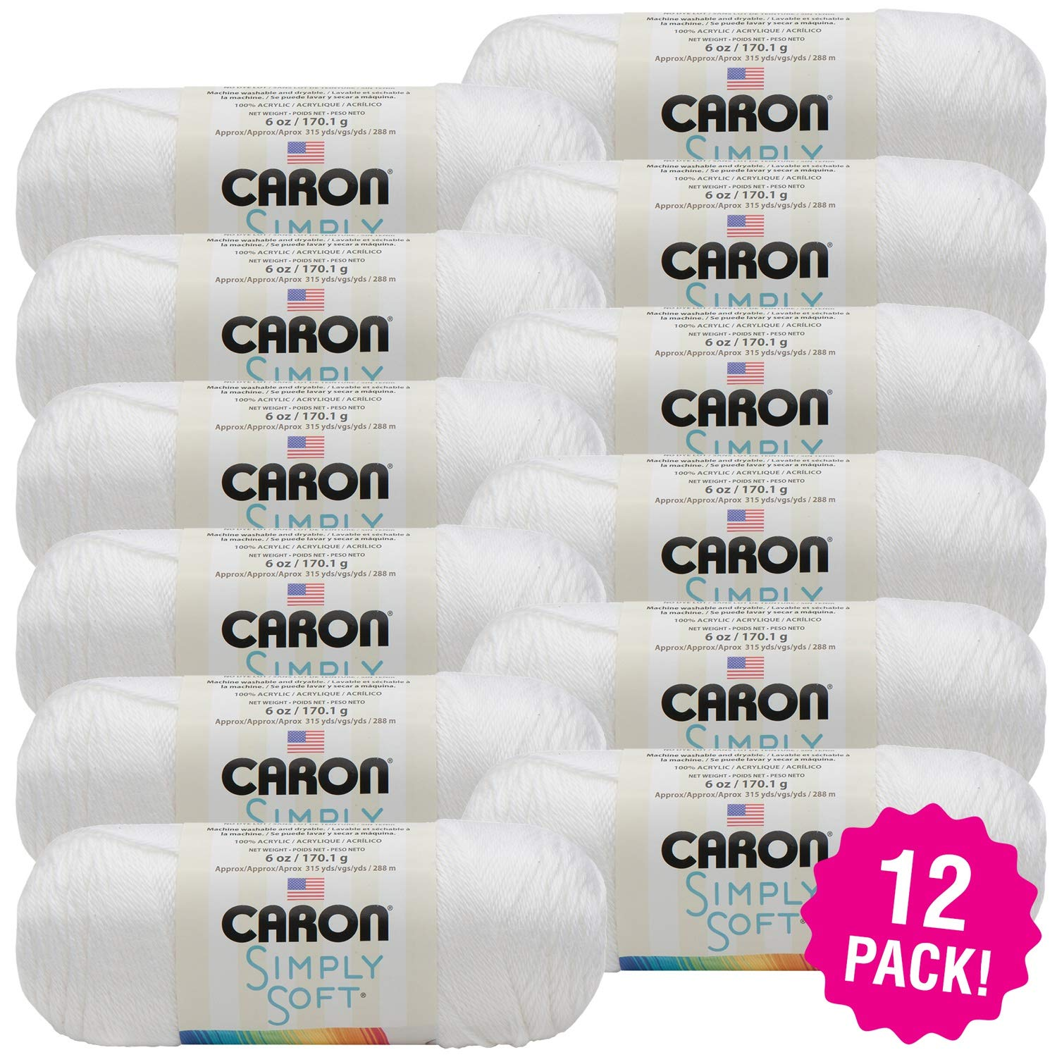 Caron 98115 Simply Soft Solids Yarn-White, Multipack of 12, Pack