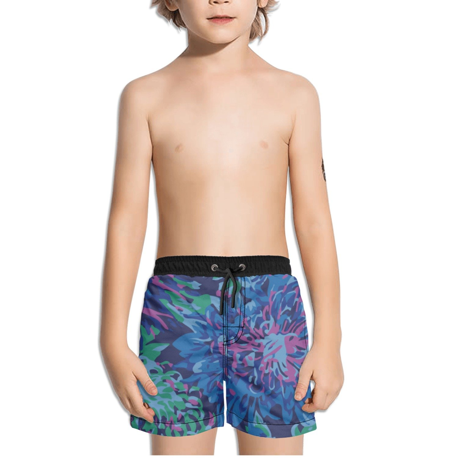 Ouxioaz Boys Swim Trunk Japanese Chrysanthemum Blue Beach Board Shorts