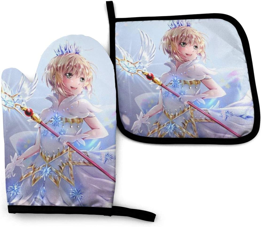 YUELIZHOU Cardcaptor Sakura Oven Mitts and Pot Holders Sets Hanging Non-Slip Heat Resistant 2 Piece Set for Kitchen BBQ Cooking Baking Grilling Machine Washable
