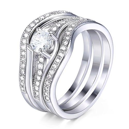 Trendsmax Plata Conjunto de anillos para Mujeres Hombres Ronda Zirconia cúbica Bandring 585 Chapado en oro