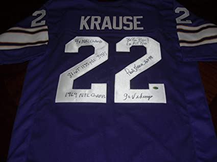 19ddeeeed23 Autographed Paul Krause Jersey - hof Full Stats Mvp holo - Autographed NFL  Jerseys
