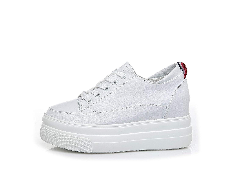 Blanc HOESCZS Talons Hauts Chaussures Blanches à Semelles épaisses, Cuir, Chaussures Hautes, Printemps, Nouvelle Mode, Sauvage, Muffin, Chaussures De Loisirs