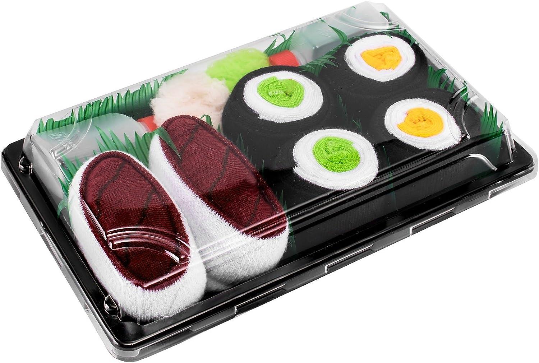 Rainbow Socks - Mujer Hombre Calcetines Sushi Atún Maki de Pepino Oshinko - 3 Pares