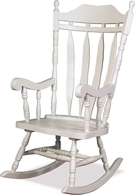 The One Jay Traditional Solid Wood Carved Rocking Chair Finish : White Living Room Conservatory Nursery Furniture