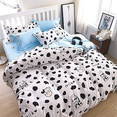 WINLIFE Simple Black White Bedding Set Reversible Milk Cow Printing Duvet Cover Set for Kids Full/Queen: Home & Kitchen