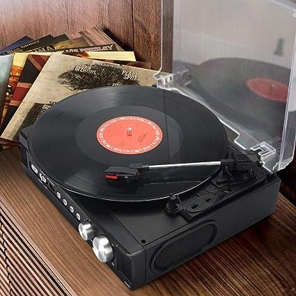 Amazon.com: 1byone Belt Drive 3 Speed Mini Stereo Turntable ...
