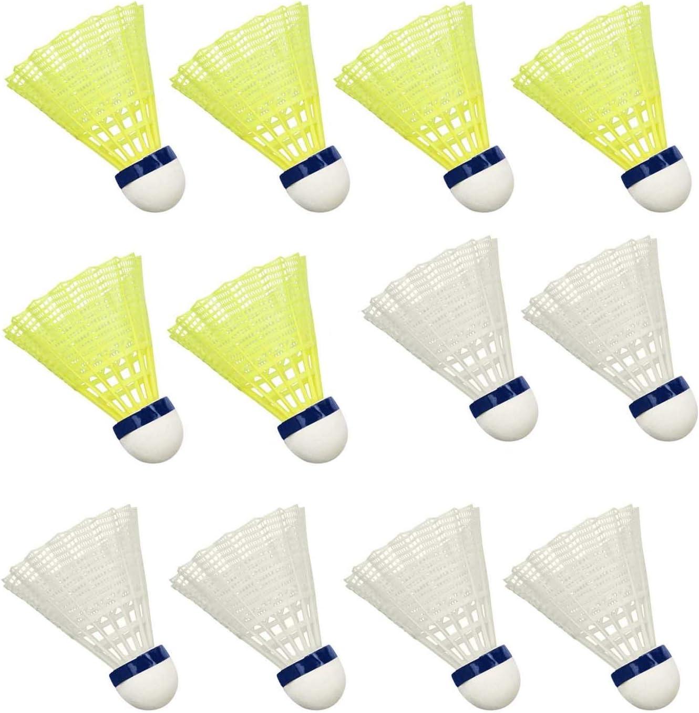 Blanco y Amarillo Hysagtek 12 Piezas Nylon Duradero B/ádminton Volantes B/ádminton de Entrenamiento de Alta Velocidad para Deportes al Aire Libre en Interiores