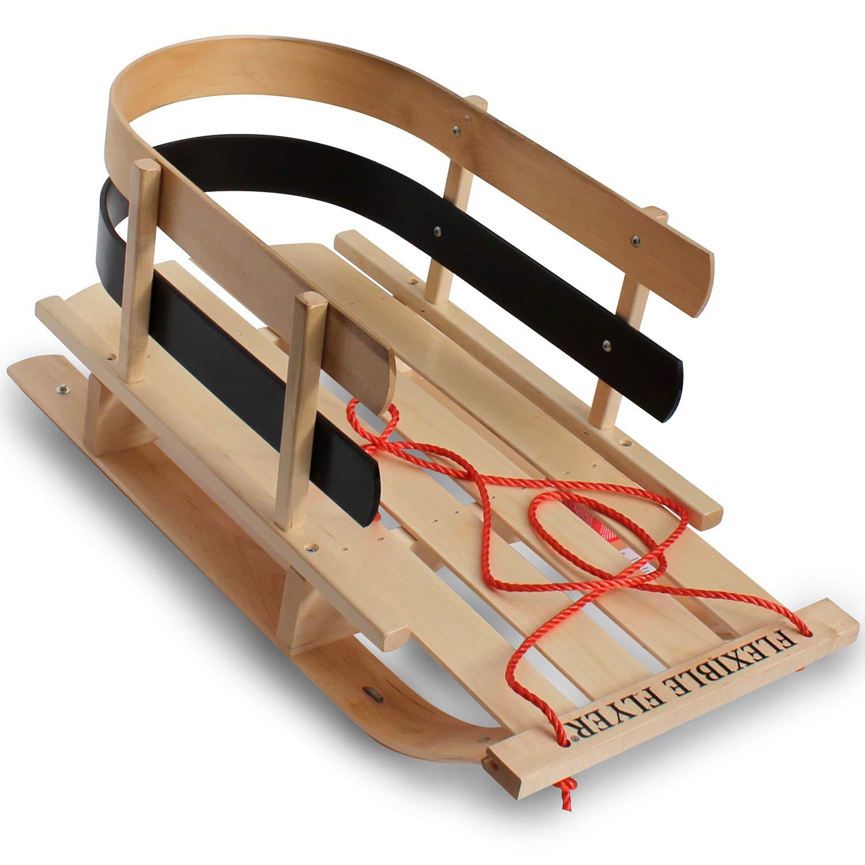 Flexible Flyer Premium Baby Sleigh. Toddler Boggan. Wooden Pull Sled for Kids