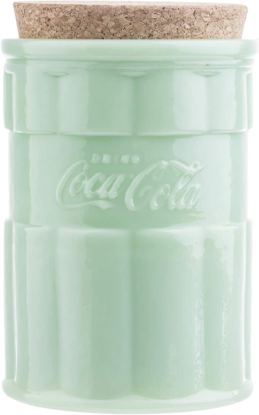Coca-Cola Jadeite Medium Canister with Lid 4.5x 4.5x 7'', Green