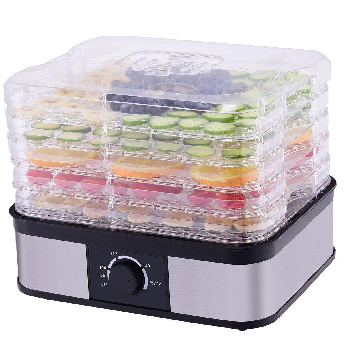CHEFJOY 5 -Tray Food Dehydrator Food Preserver Fruit Vegetable Dryer Temperature Control