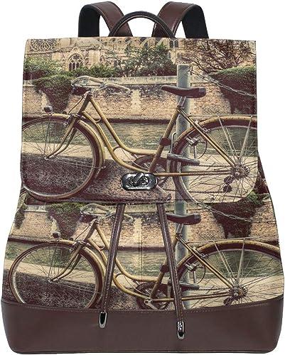 JINCAII Bicicleta retro junto a la catedral de Notre Dame en París Mochila de cuero para niños Mochila de cuero moderna Cordón impermeable Mochila de cuero linda Mochila de cuero Mujer: Amazon.es: