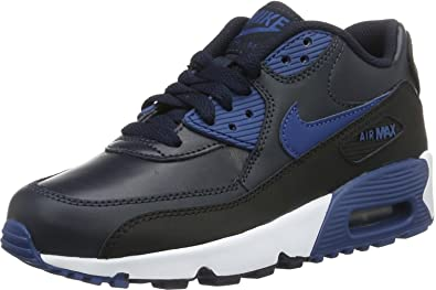 f77ead8e0 Nike Youths Air Max 90 Black Leather Black Leather Trainers 36.5 EU