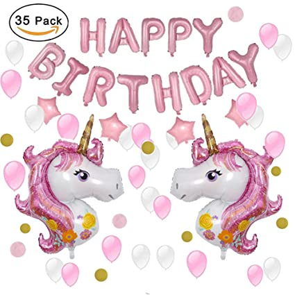 iamigo unicorn party decoration unicorn party supplies theme pink balloons with happy birthday letter banner