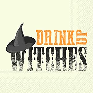 Ideal Home Range 3-Ply Paper Beverage/Cocktail Napkins, 20-Count, 10 x 10-Inches Folded, Drink Up Witches