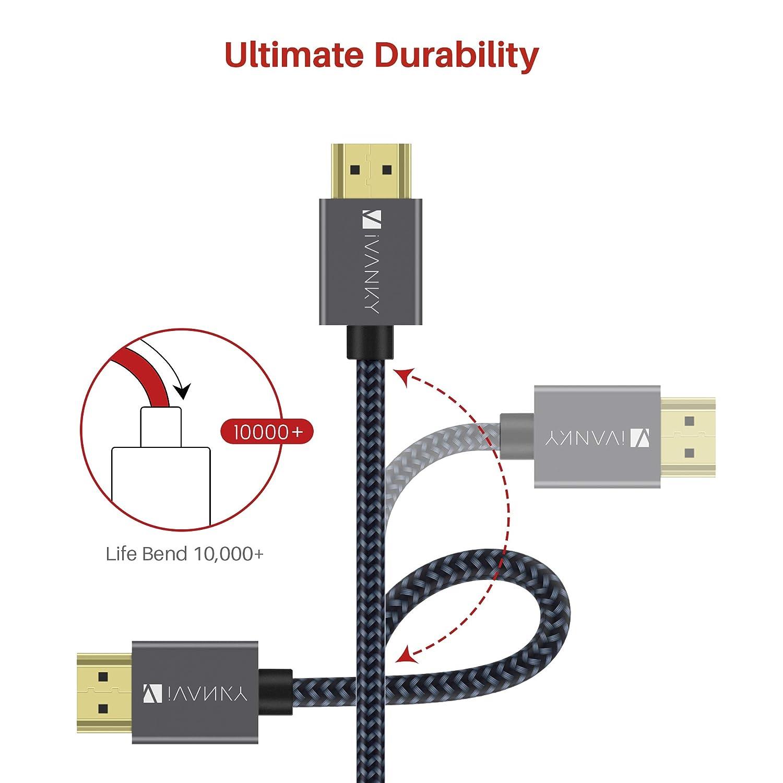 Gris HP Elitebook Trenzado Nylon ThinkPad y M/ás NVIDIA Hombre a Hombre Compatible con Port/átil iVANKY 2M Cable DP a HDMI Cable DisplayPort a HDMI AMD