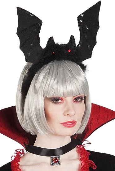 19271 Cerchietto Halloween con Pipistrelli Glitter Guirca Colore Nero
