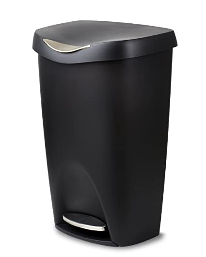 umbra brim large kitchen trash can with stainless steel foot pedal stylish and durable 13 - Stainless Steel Kitchen Trash Can
