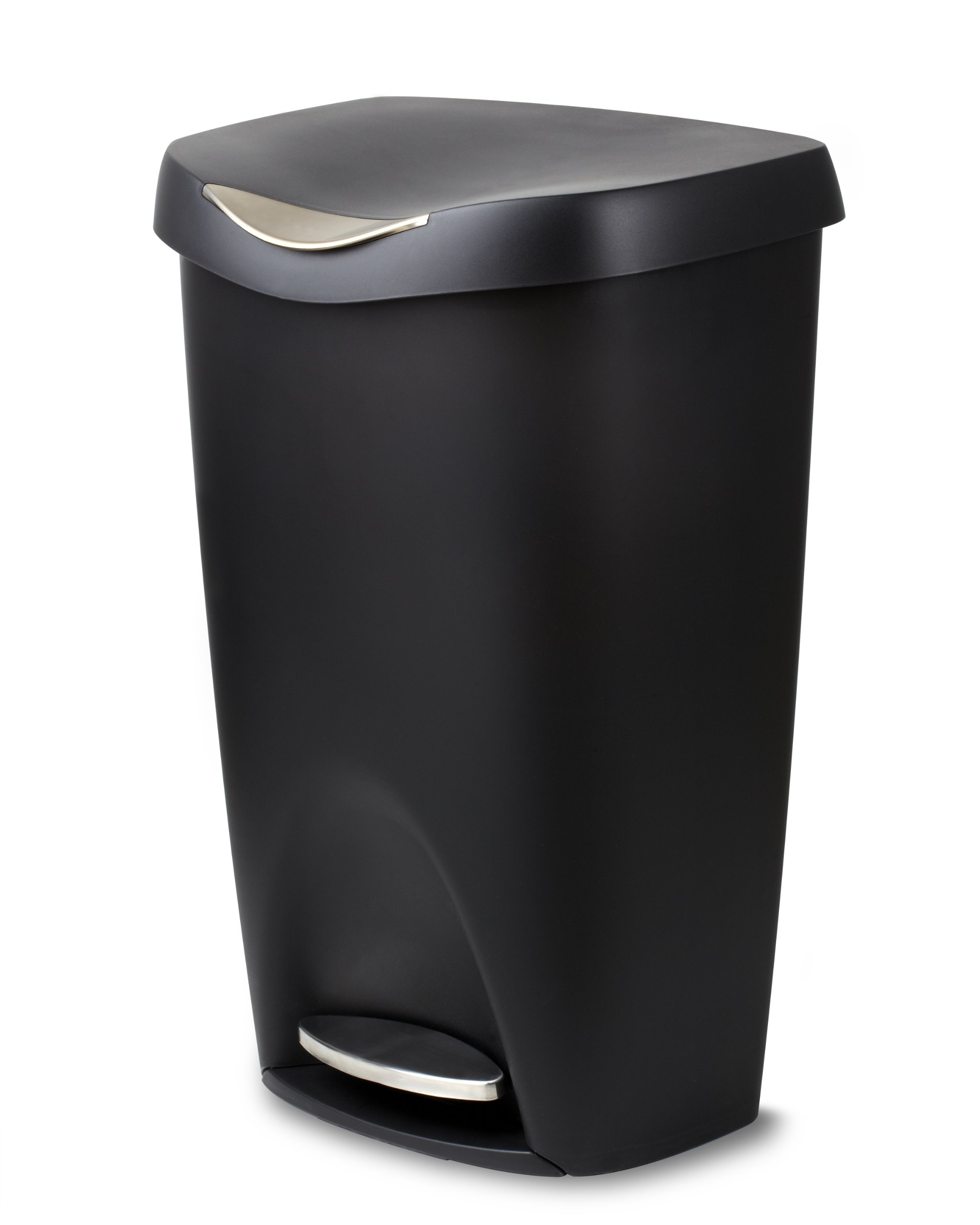 Umbra Brim 13 Gallon Trash Can with Lid - Large Kitchen Garbage Can with Stainless Steel Foot Pedal, Stylish and Durable, Black