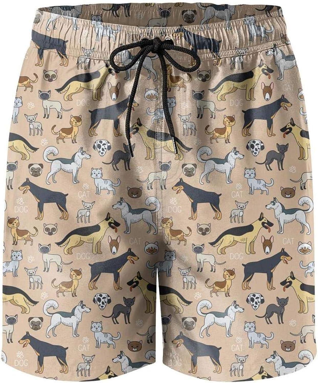 Mens Cat and Dog Pattern Boardshorts Beach Pants