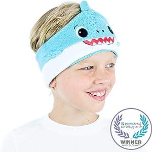 CozyPhones Kids Headphones Volume Limited with Thin Speakers & Super Soft Fleece Headband - Perfect Toddlers & Children's Earphones for Home, School & Travel - Blue Shark