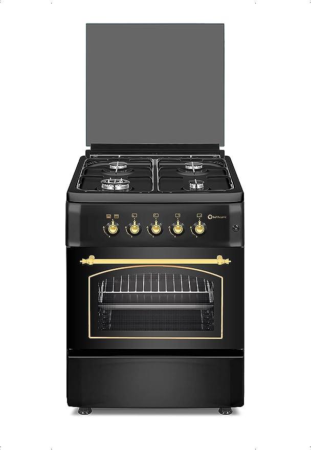 Cocina SolThermic F6S40G2I de Color Negro Rústico compuesta por 4 Quemadores y Horno. Incorporado - ENTREGA A PIÉ DE CALLE. **ALTA GAMA**