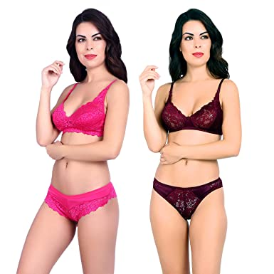 8420044724df4 Akakee Women s Everyday Non Padded Wire Free Full Coverage Lace Bra Panty  Set Combo Pack of