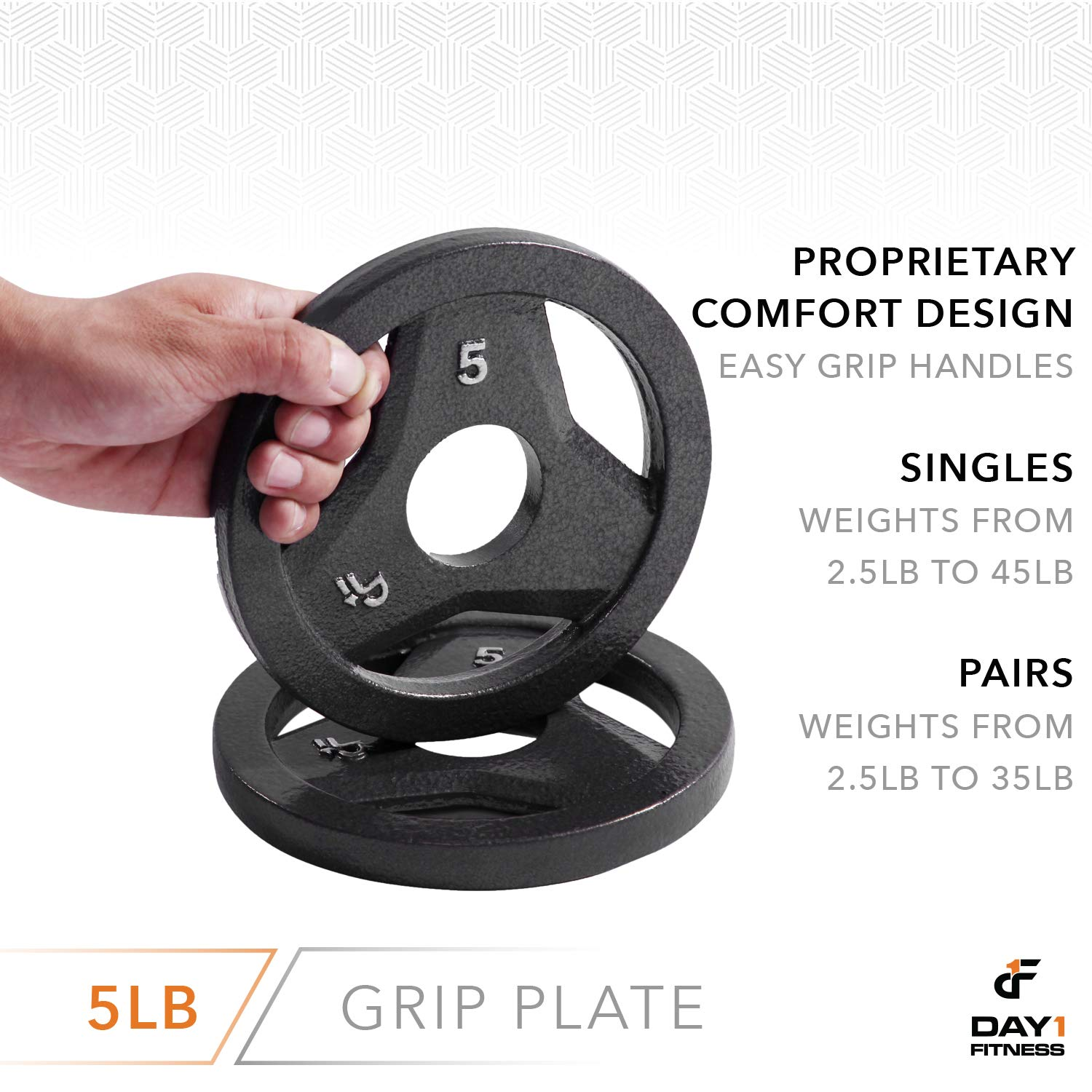 """Day 1 Fitness Cast Iron Olympic 2-Inch Grip Plate for Barbell, 5 Pound Single Plate Iron Grip Plates for Weightlifting, Crossfit - 2"""" Weight Plate for Bodybuilding by Day 1 Fitness (Image #5)"""