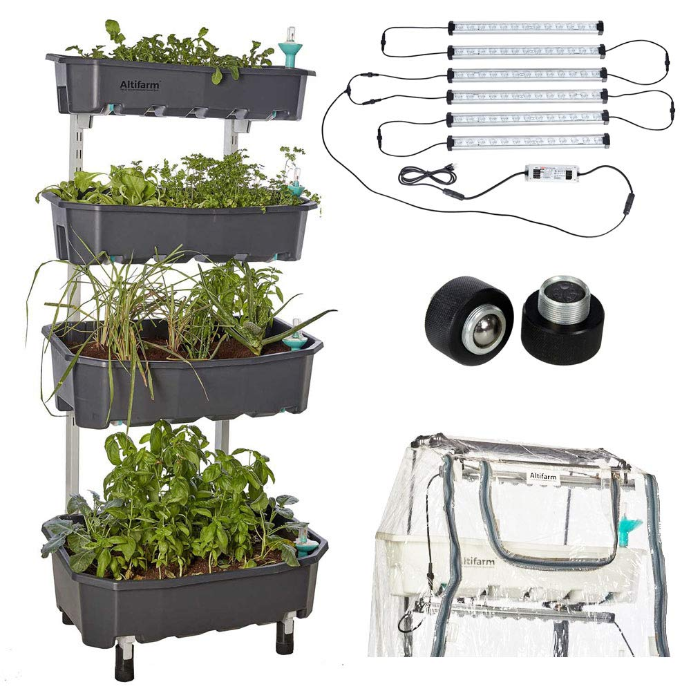Altifarm Combo Home Farm Vertical Raised Bed Elevated Garden Self-Watering Planter Kit 4 Tier, Grey Plus Expansion Packs Altifarm Grow System LED Grow Lights Greenhouse Cover Wheel Kit