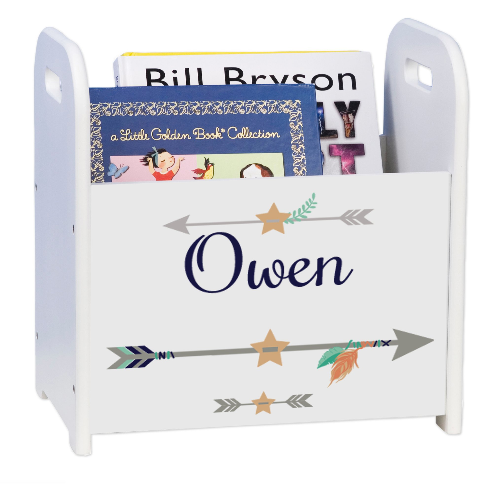 Personalized Tribal Arrows boy White Book Caddy and Rack