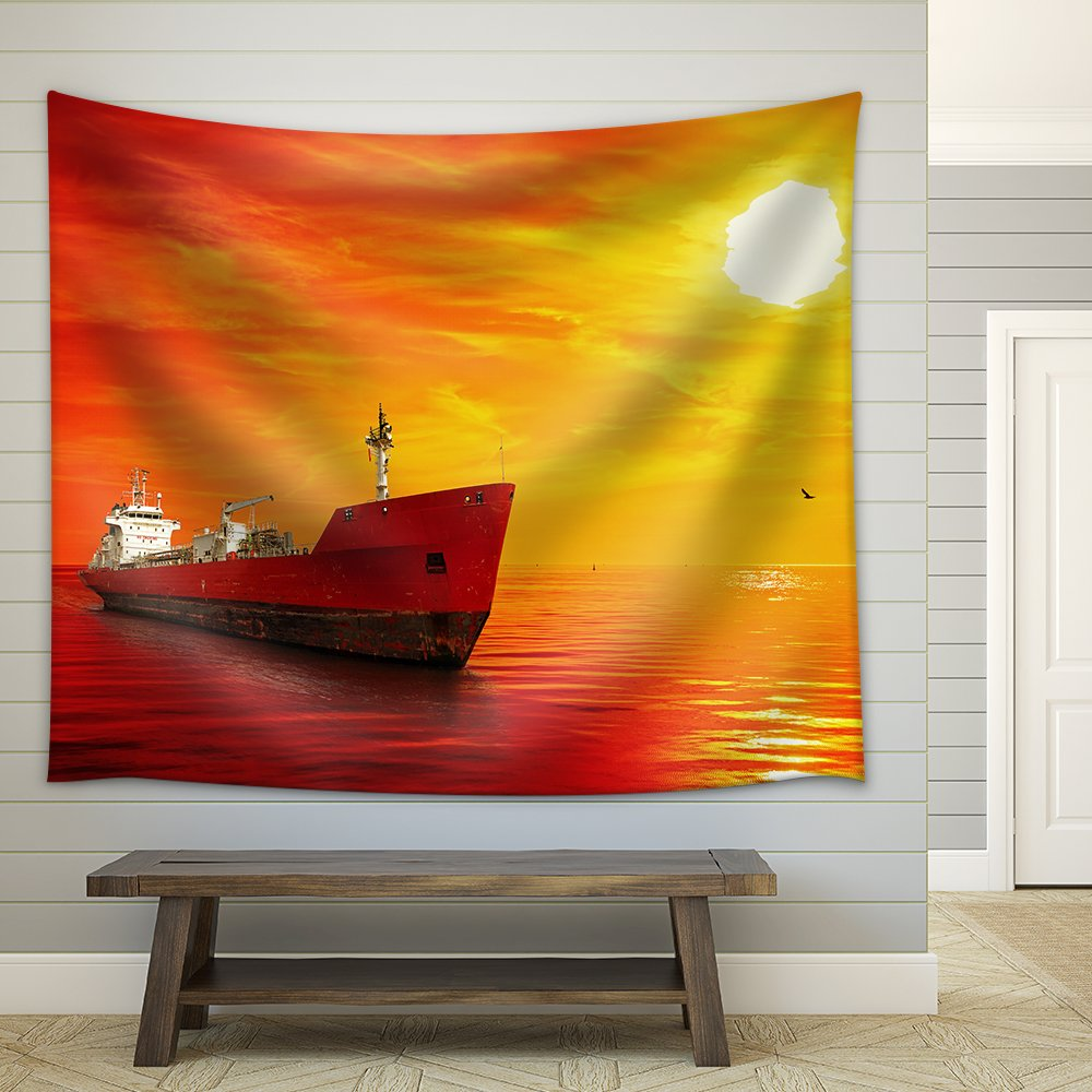 Silhouette of the tanker ship on red sunrise Fabric Wall Tapestry ...