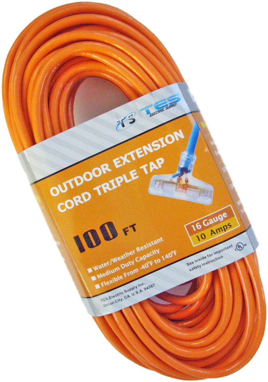TES 16 Gauge 100 Ft. 16/3 Triple Tap SJTW Medium Duty Extension Cord with Lighted Plug by TES Electric Supply