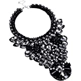 Bling Fashion Handmade Gems Clear Tawny Glass Beads Statement Pendant Necklace