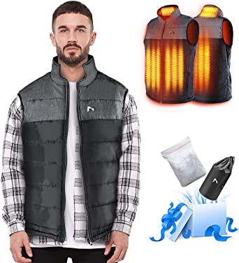 Electric Heated Jacket for Men//Women USB Rechargeable Heating Clothes Coat with Heated Collar Jacket with Detachable Hood Warmer Body for Winter Skiing Battery Not Included Output 5V//2A or Above