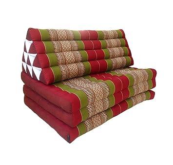 Colchón doble de meditación con cojín de respaldo triangular (