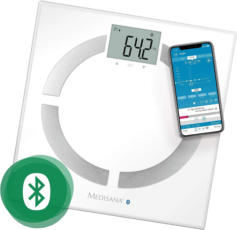 Medisana BS 444 Connect - Báscula Analítica Digital  con Appm, 180 kg, Medición del Peso, Grasa Corporal, Agua Corporal, Porcentaje Muscular y Peso óseo