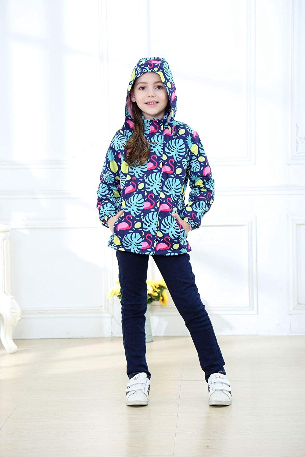 Happy childhood Kids Girls Waterproof Windbreaker Jacket Spring Autumn Outdoor Coat Lightweight Rain Jacket Wet Weather /& Travelling