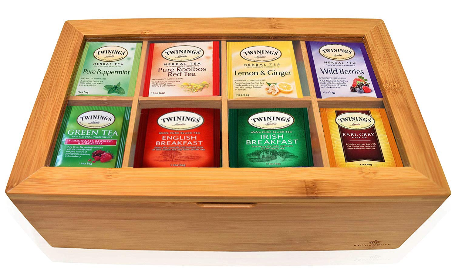 Twinings Tea Bags Sampler Assortment Box - 80 COUNT - Perfect Variety Pack in Bamboo Gift Box - Gift for Family, Friends, Coworkers - English Breakfast, English Afternoon, Green Tea, Early Grey, Chamo by EVA'S GIFT UNIVERSE