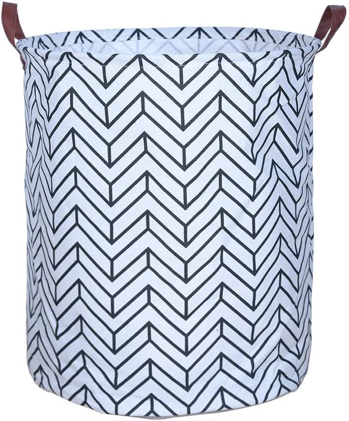 """Yearn 19.7"""" Large Collapsible Laundry Basket,Waterproof Canvas Round Storage Hamper Home Organizer Storage Clothes and Toys (Black Geometry)"""