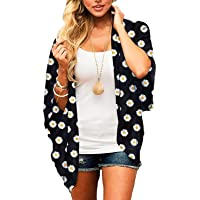 Women's Sheer Chiffon Floral Print Kimono Casual Loose Open Front Cardigan Blouse Tops Cover Up