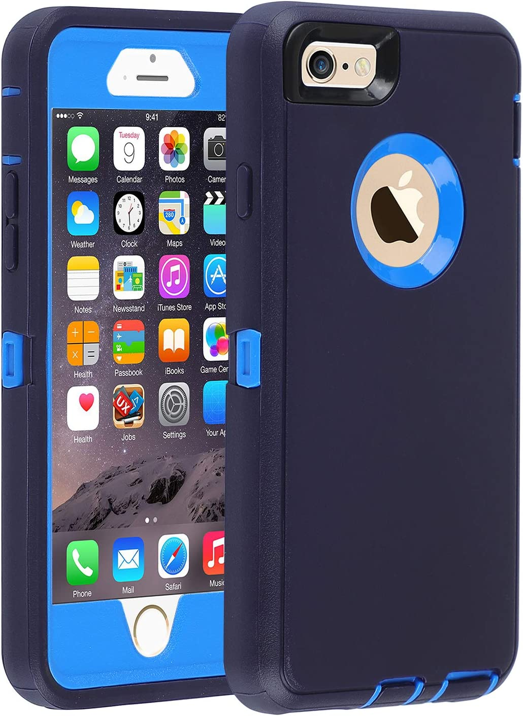Co-Goldguard Case for iPhone 6/6s,Heavy Duty 3 in 1 Built-in Screen Protector Durable Cover Dust-Proof Shockproof Drop-Proof Scratch-Resistant Shell for Apple iPhone 6/6s 4.7 inch,Navy Blue