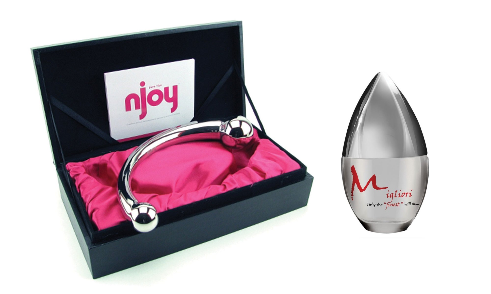 Beautiful high end Njoy Pure Wand paired with Migliori premium silicone-based lubricant (30 ml) by Njoy, Migliori