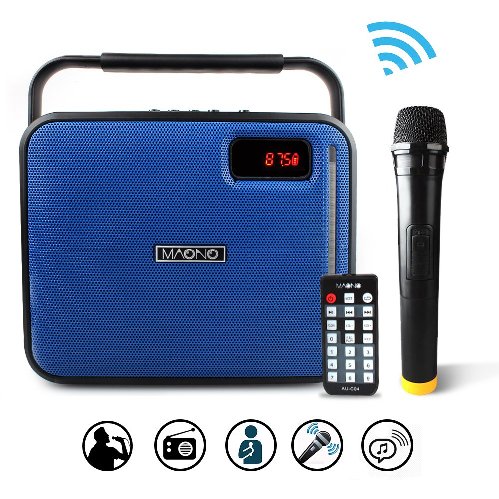 MAONO PA System with Wireless Microphone Karaoke Machine, Portable Rechargeable 20W Bluetooth Party Speaker for Adults Kids Mobile APP with FM Radio, LED Light, 1X6.5'' Woofer (Blue)