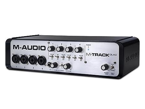 M-Audio M-Track Quad - Interfaz de Audio/MIDI con 4 canales de calidad profesional y 3 puertos USB
