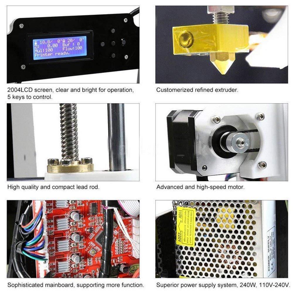 GUCOCO A8 Desktop DIY 3D Drucker Selbstmontage Prusa i3 Kit Upgradest High Precision Selbstbauen 3D Drucker mit LCD Bildschirm Plattformgr/ö/ße 200 * 200 * 180mm