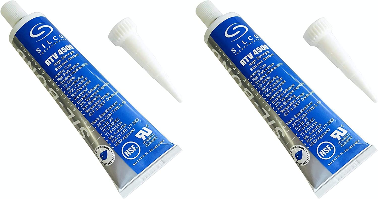 Silicone RTV 4500 Food Contact Safe High Strength Silicone Sealant, Clear (2.8 FL. Ounce) - 2 Pack