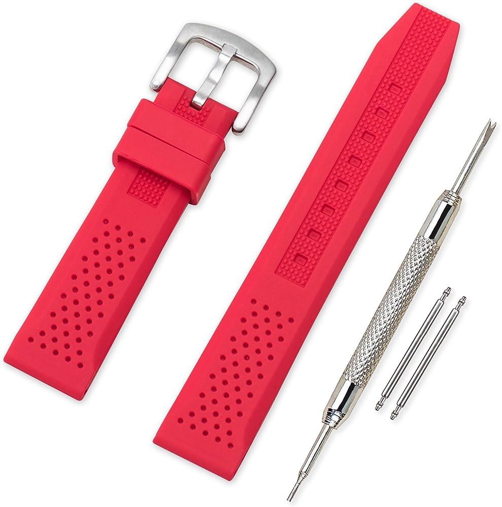 Vinband Correa Reloj Calidad Alta Recambios Correa Relojes Caucho - 16mm, 18mm, 20mm, 22mm, 24mm Silicona Correa Reloj con Hebilla de Acero Inoxidable ...