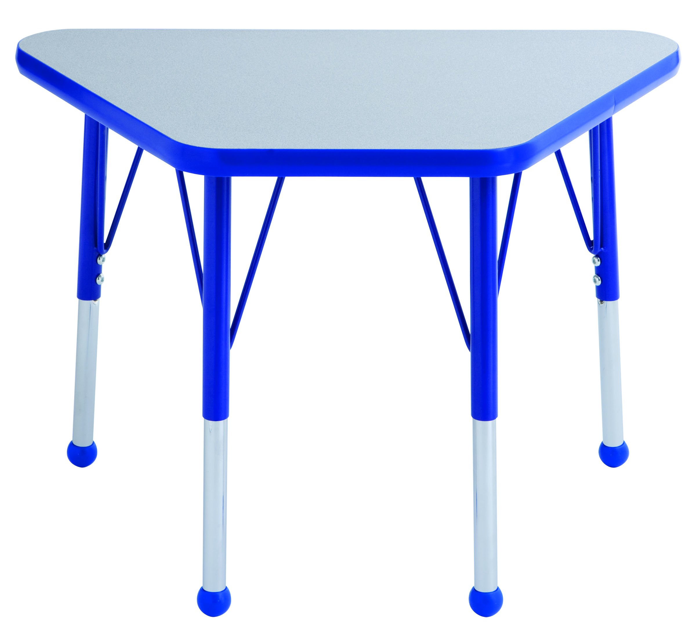 ECR4Kids Everyday T-Mold 18'' x 30'' Trapezoid Activity School Table, Standard Legs w/Ball Glides, Adjustable Height 19-30 inch (Grey/Blue) by ECR4Kids